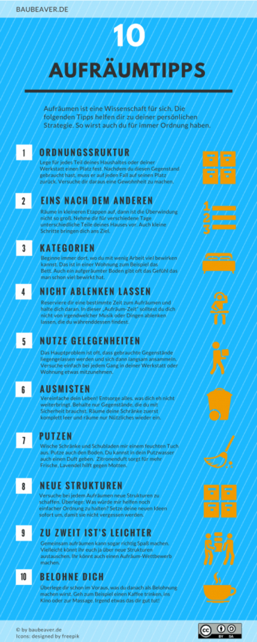 10 Aufräumtipps - mal RICHTIG aufräumen! [+ Infografik] · BAUBEAVER