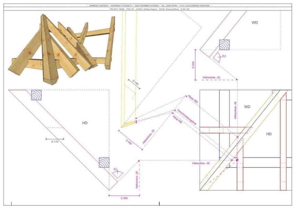 Ein Abbund-Plan. Komplexe Konstruktionen wie einem Gratsparren mit einem Hexenschnitt lassen sich durch Computer schnell ermitteln.