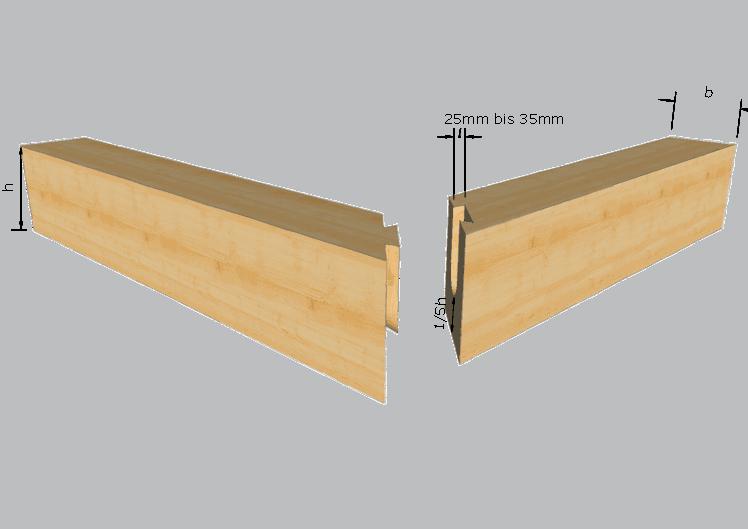Zimmermannsmäßige Holzverbindung: Gehrung mit Schwalbenschwanz