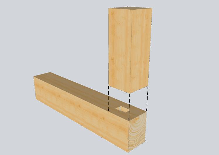Zimmermannsmäßige Holzverbindung: Abgesetzter Zapfen