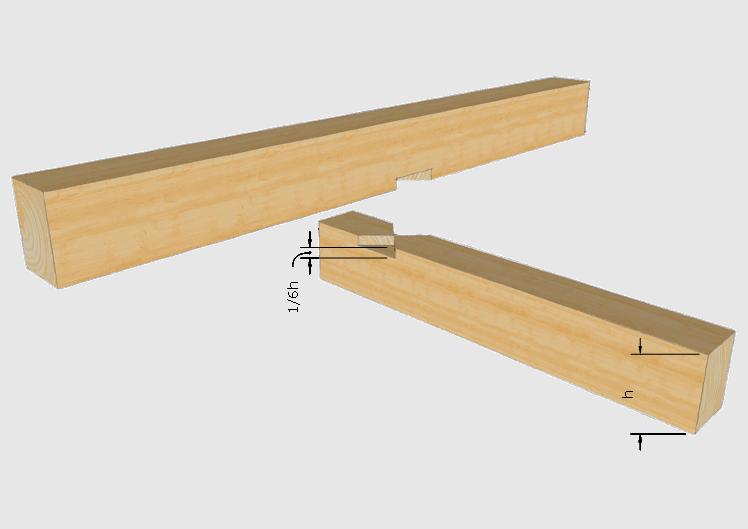 Zimmermannsmäßige Holzverbindung Kreuzkamm