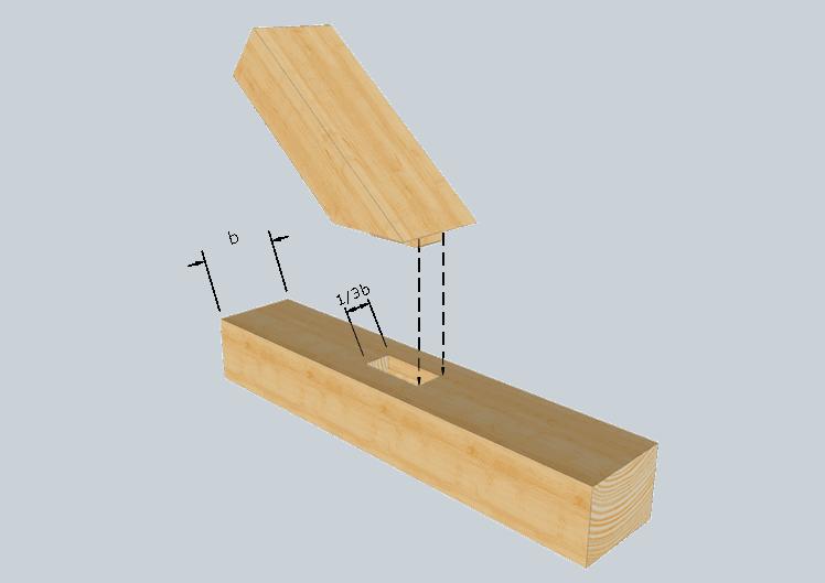 Zimmermannsmäßige Holzverbindung: Schräger Zapfen