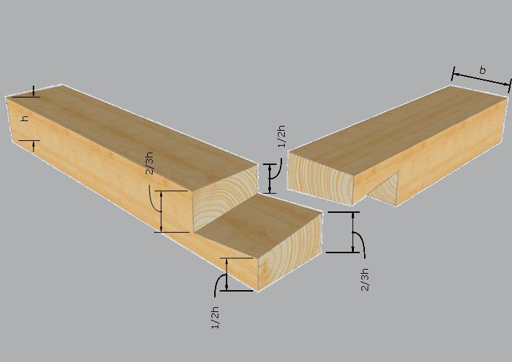 Zimmermannsmäßige Holzverbindung Französisches Blatt