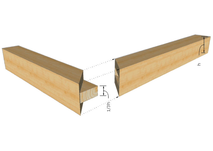 Zimmermannsmäßige Holzverbindung: Verdeckter Scherzapfen