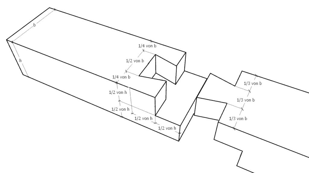 Blattstoß mit einer Schwalbenschwanzverbindung (Zimmermannsmäßige Holzverbindungen)