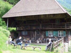 Konstruktiver Regenschutz durch ein Walmdach. Die Holzfassade wird gut geschützt.