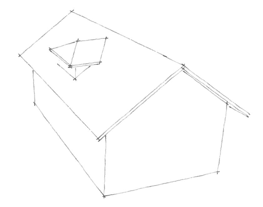 Dachgauben Formen: Walmgaube mit First