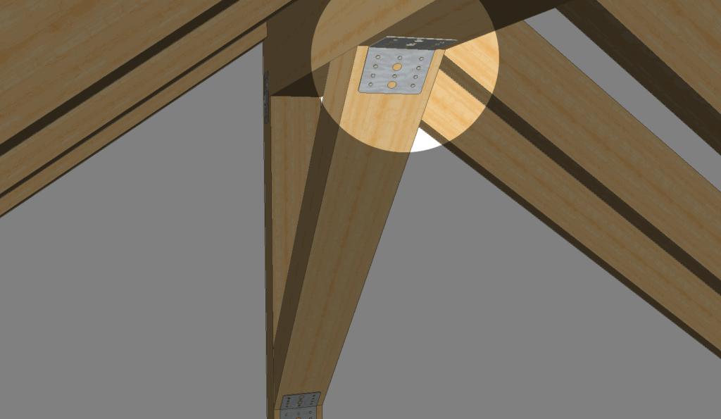 Ein Kopfbandverbinder an einem Satteldach