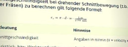 Schnittgeschwindigkeit berechnen (Rechner + Formeln)