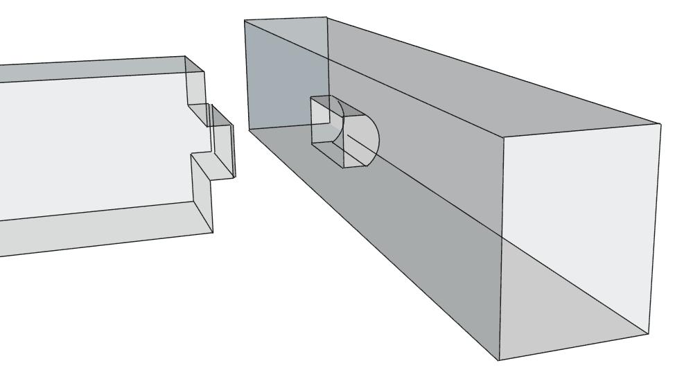 Hier sieht man eine Balkenlage mit einer einfachen Zapfenverbindung. Das Zapfenloch hat eine Rundung (Kettenstemmer oder Fräser) und der Zapfen wurde abgefarst.